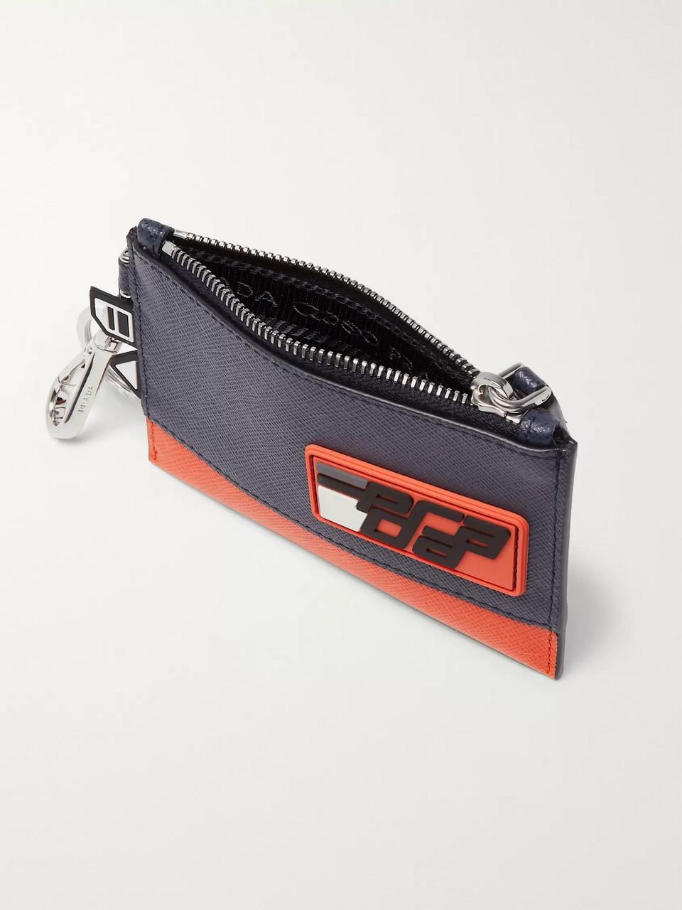 7cbad2b90a3 Navy Logo-Appliquéd Two-Tone Saffiano Leather Pouch | Prada | MR PORTER