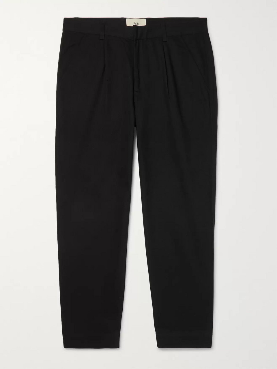 Folk Black Pleated Poplin-Trimmed Cotton-Twill Trousers