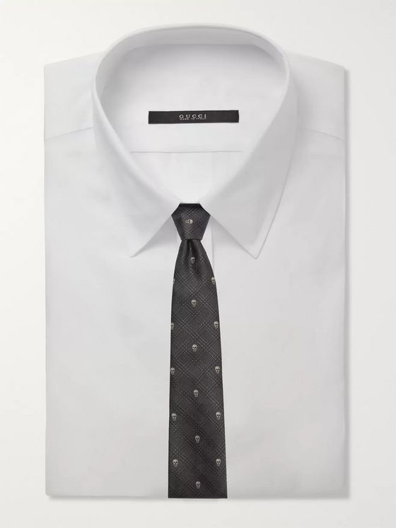 Alexander McQueen 8cm Embroidered Prince Of Wales Checked Silk-Jacquard Tie