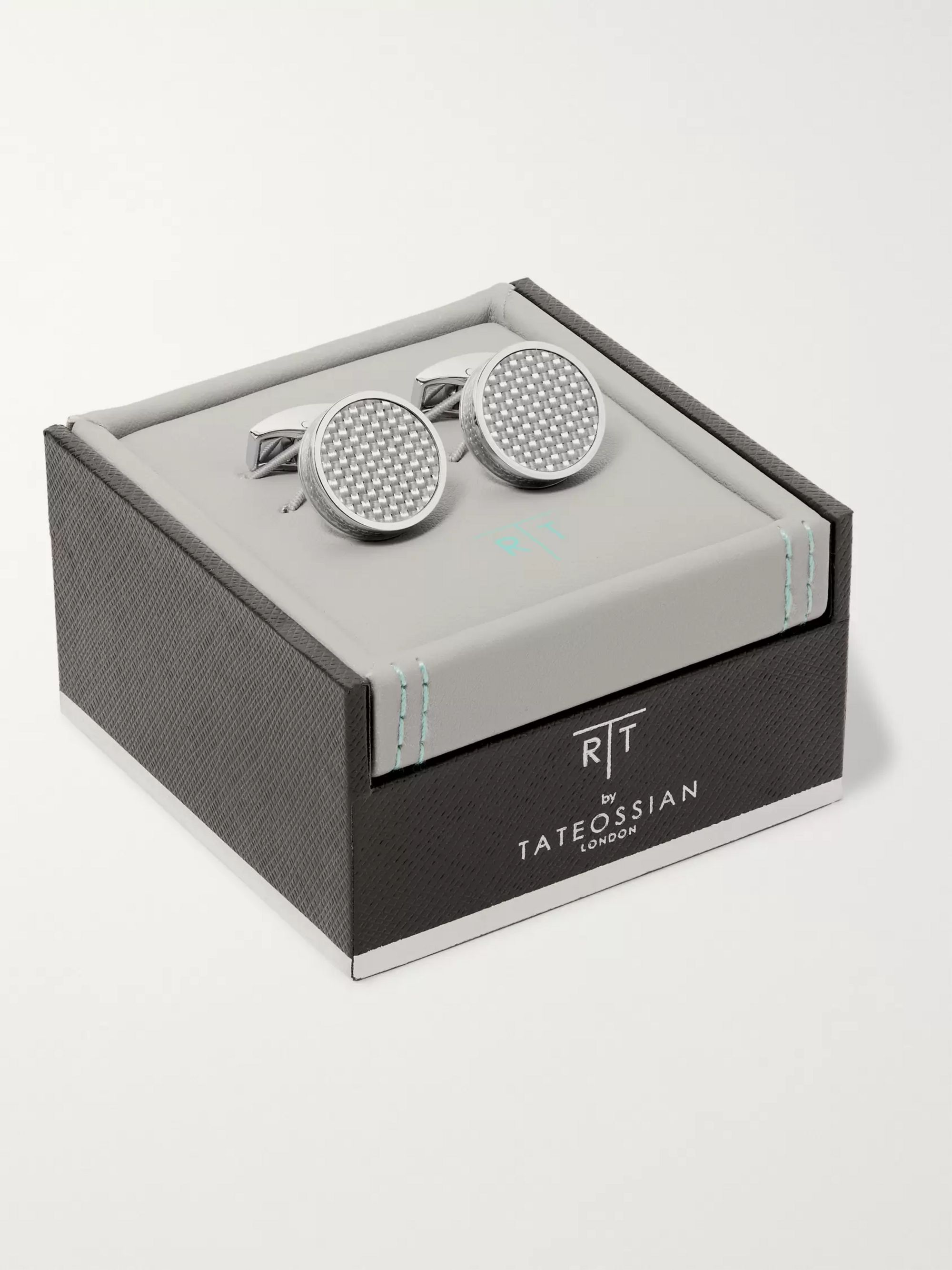 TATEOSSIAN Carbon Fibre and Enamel Rhodium-Plated Cufflinks