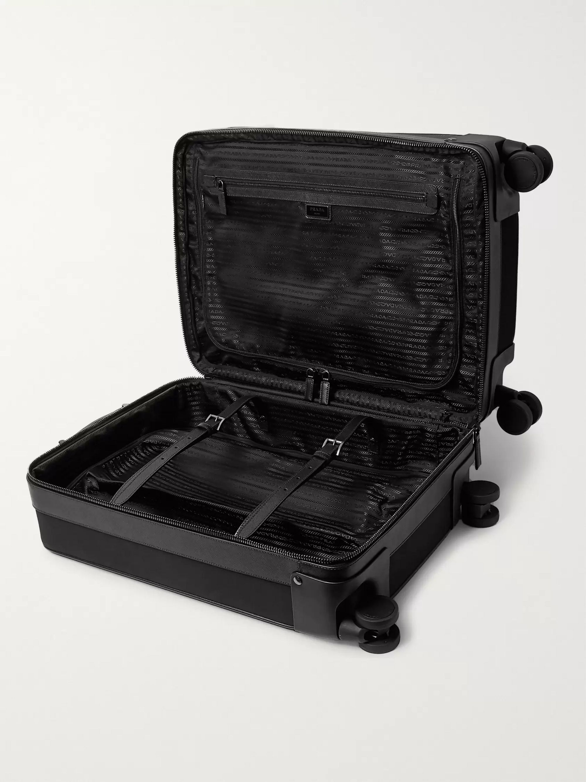 Prada Leather-Trimmed Canvas Carry-On Suitcase