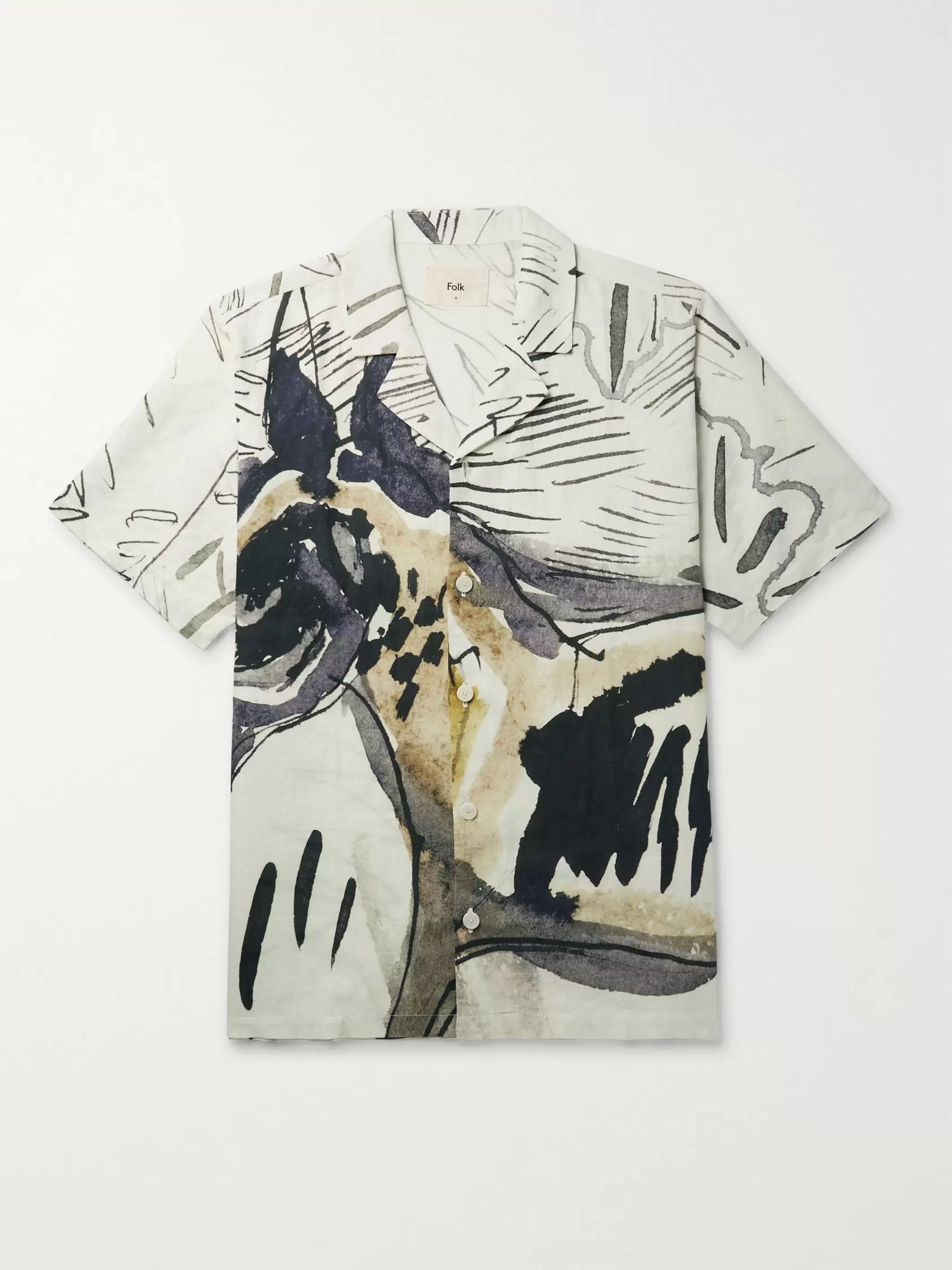 Folk + Goss Brothers Orpheus Camp-Collar Printed Linen and Cotton-Blend Shirt