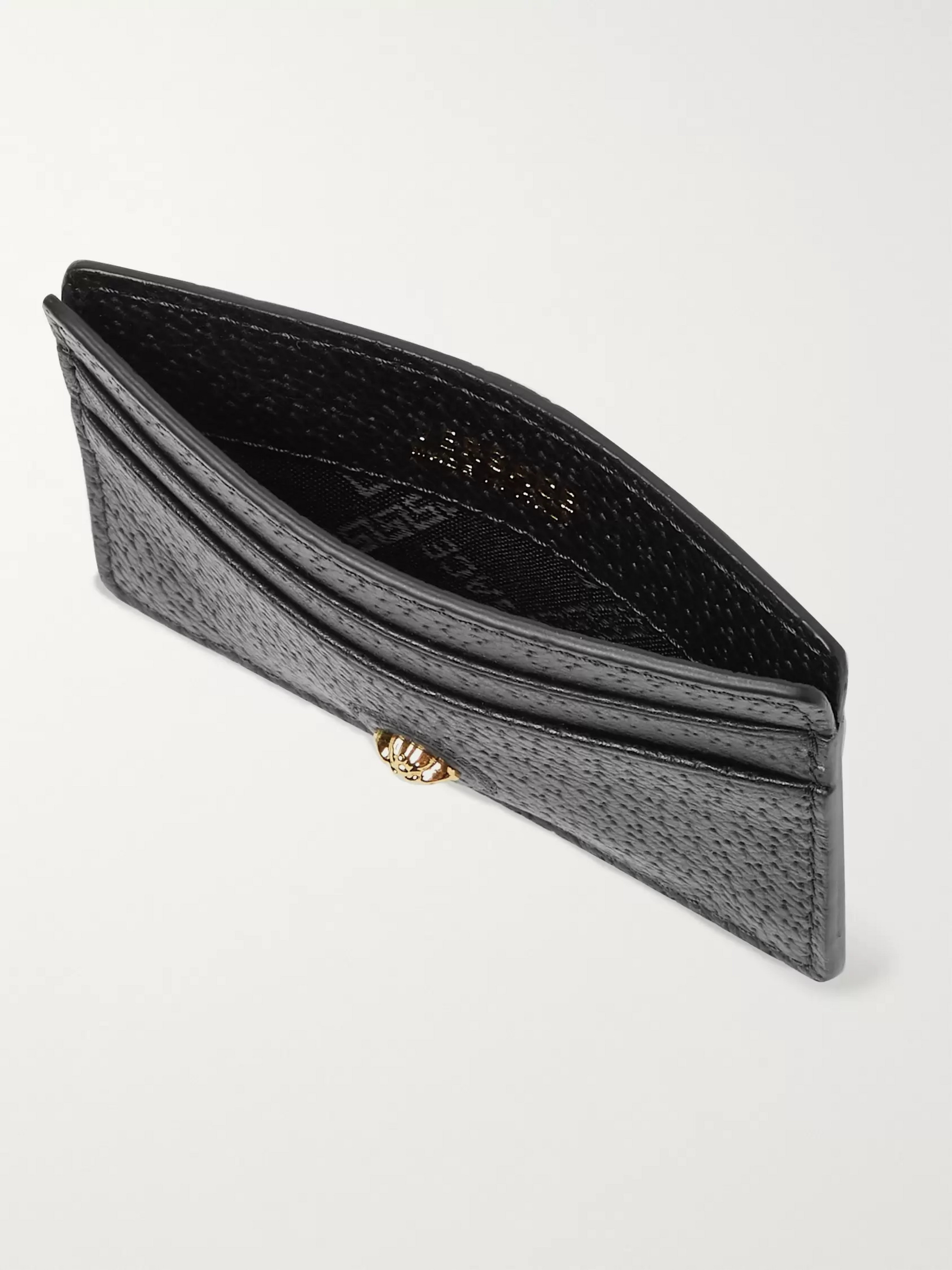 Versace Logo-Appliquéd Textured-Leather Cardholder