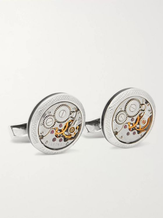 TATEOSSIAN Signature Vintage Skeleton Sterling Silver and Enamel Cufflinks