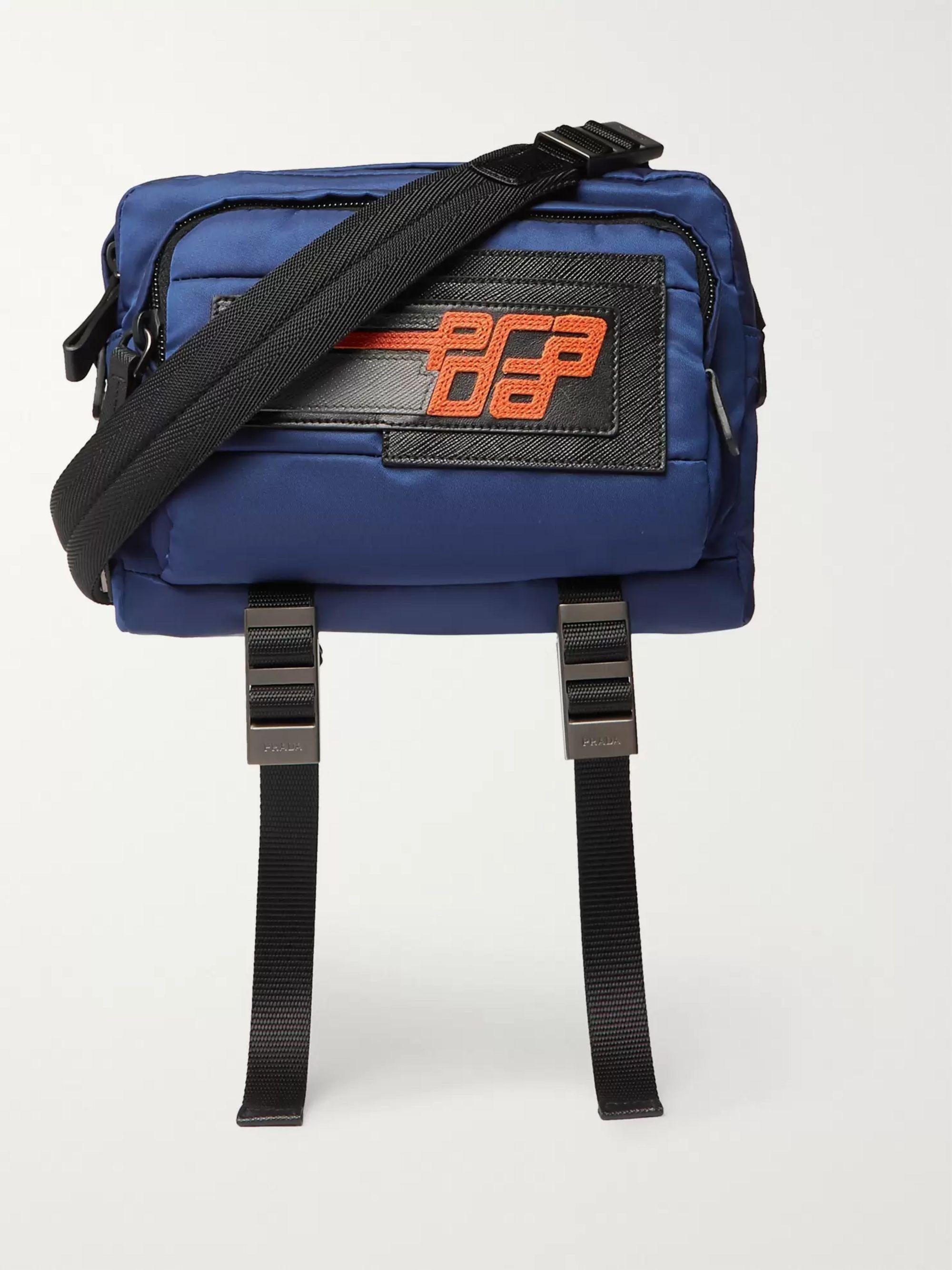 Blue Saffiano Leather Trimmed Nylon Camera Bag Prada Mr Porter