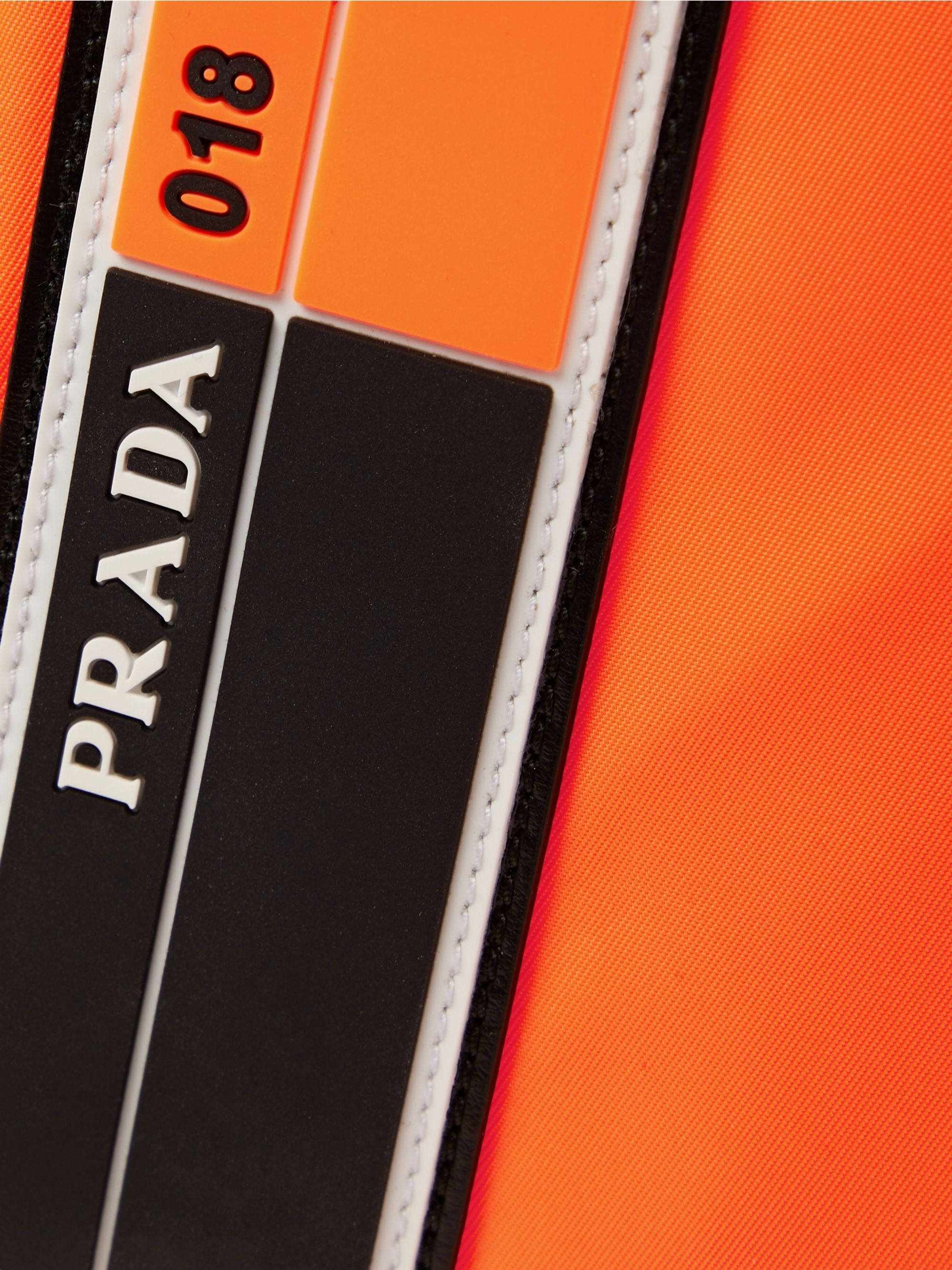Prada Logo-Appliquéd Leather-Trimmed Nylon Pouch