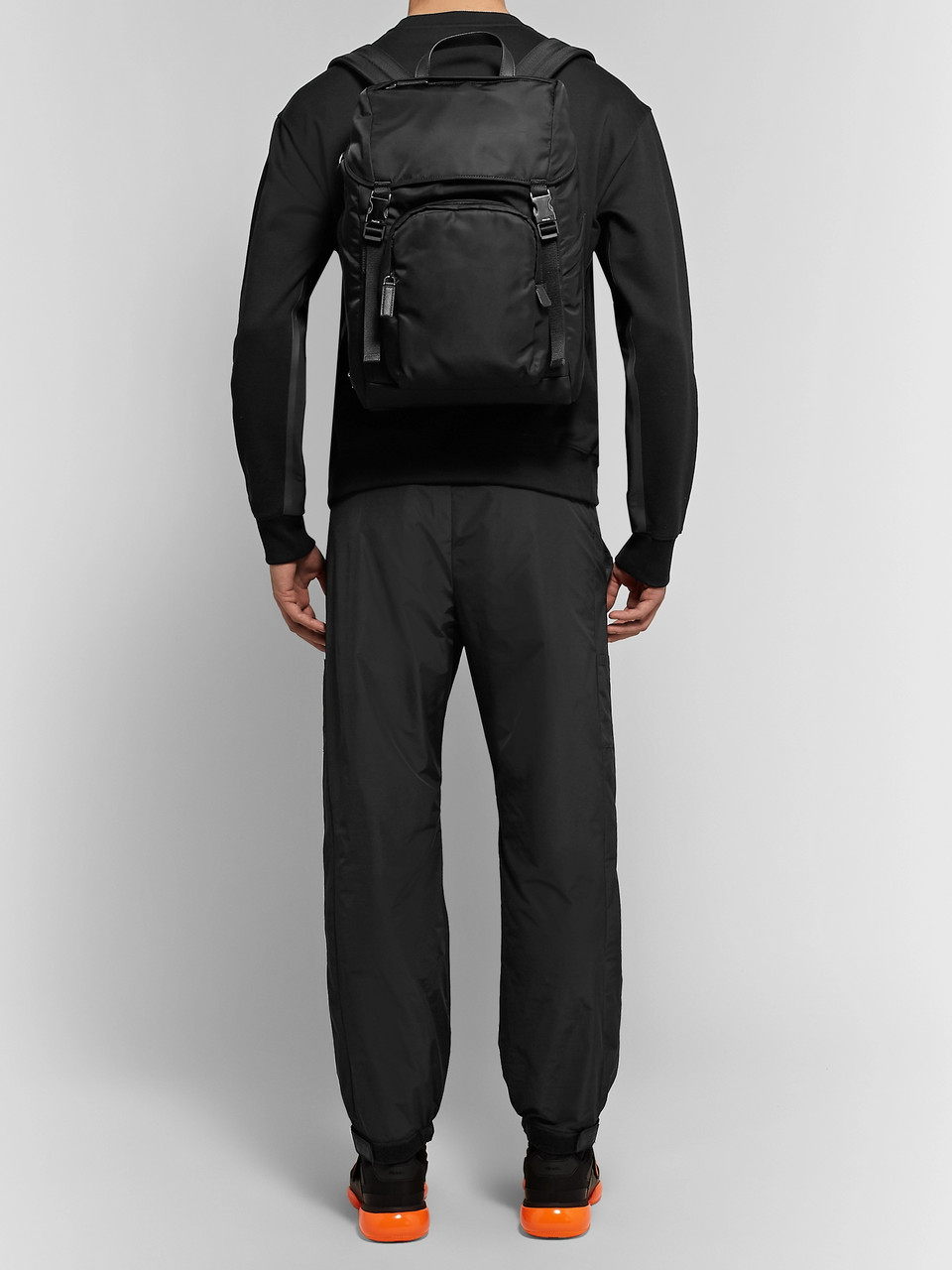 Prada Leather-Trimmed Nylon Backpack