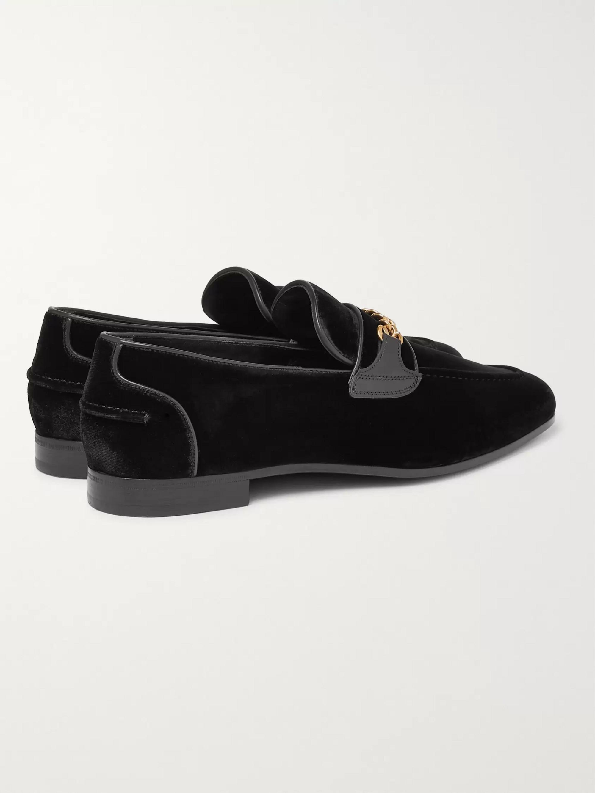 f121cee16149b Black Wilton Chain-Embellished Leather-Trimmed Velvet Loafers | TOM ...