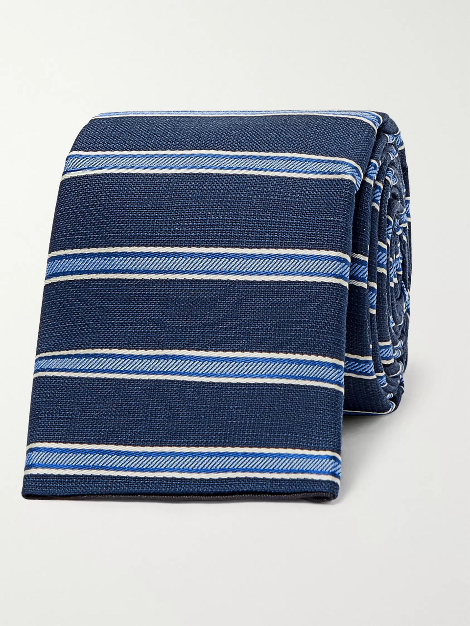 Prada 6.5cm Striped Silk, Cotton and Linen-Blend Tie