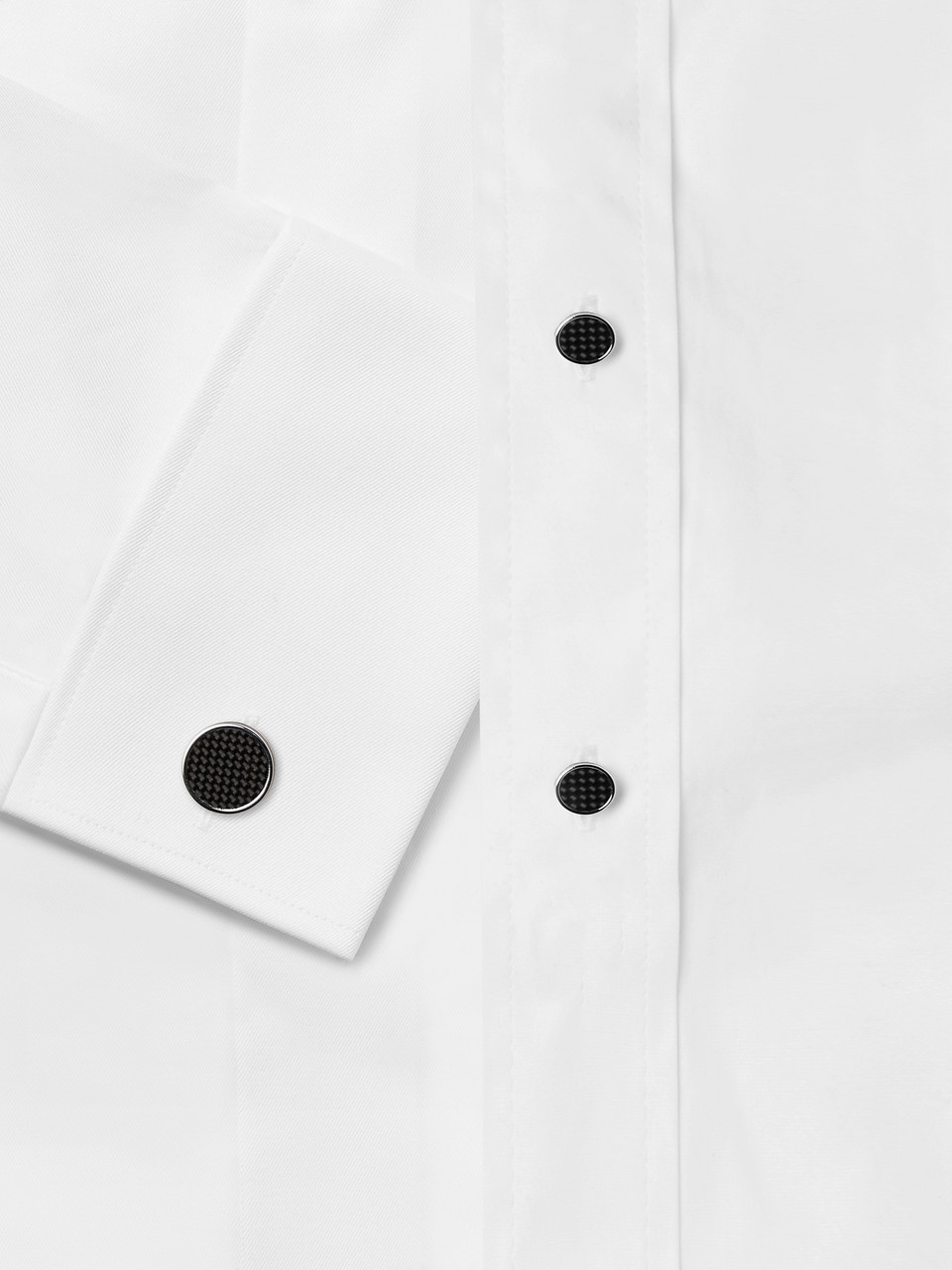 TATEOSSIAN Carbon Fibre and Enamel Rhodium-Plated Cufflinks and Studs Set