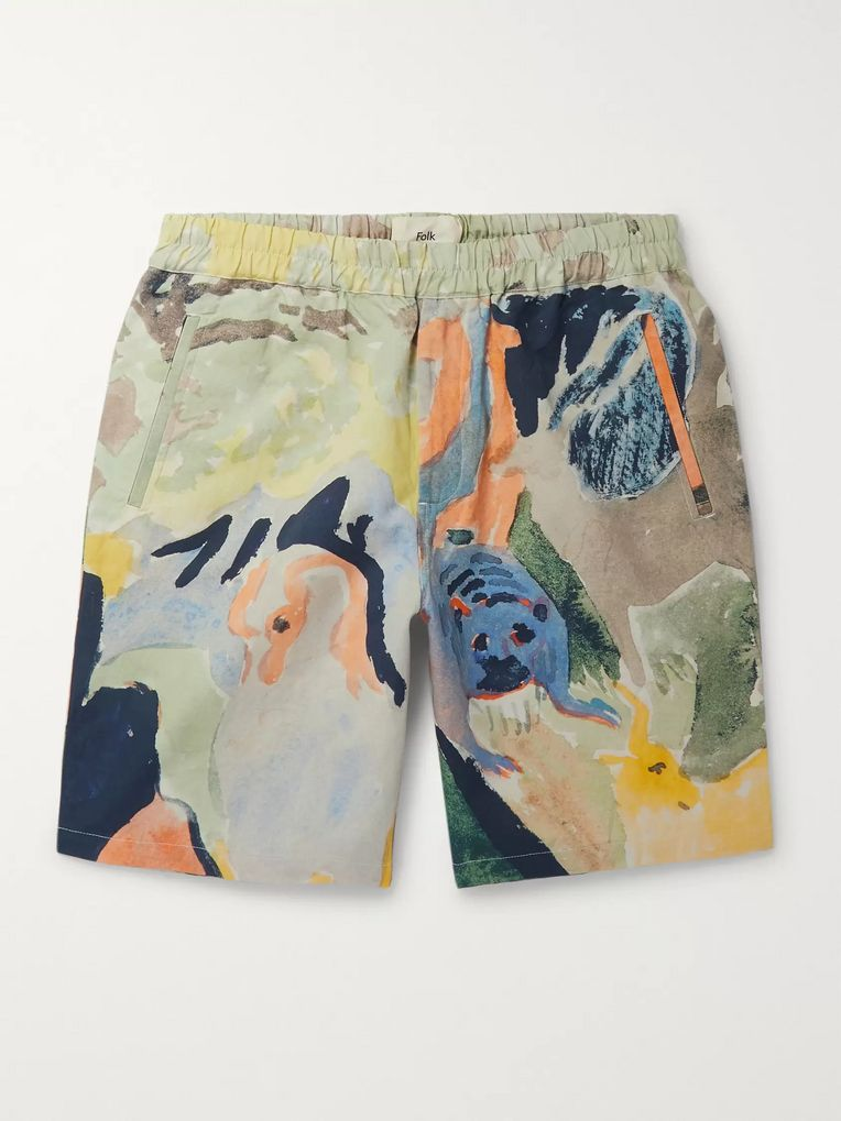 Folk + Goss Brothers Printed Linen and Cotton-Blend Drawstring Shorts