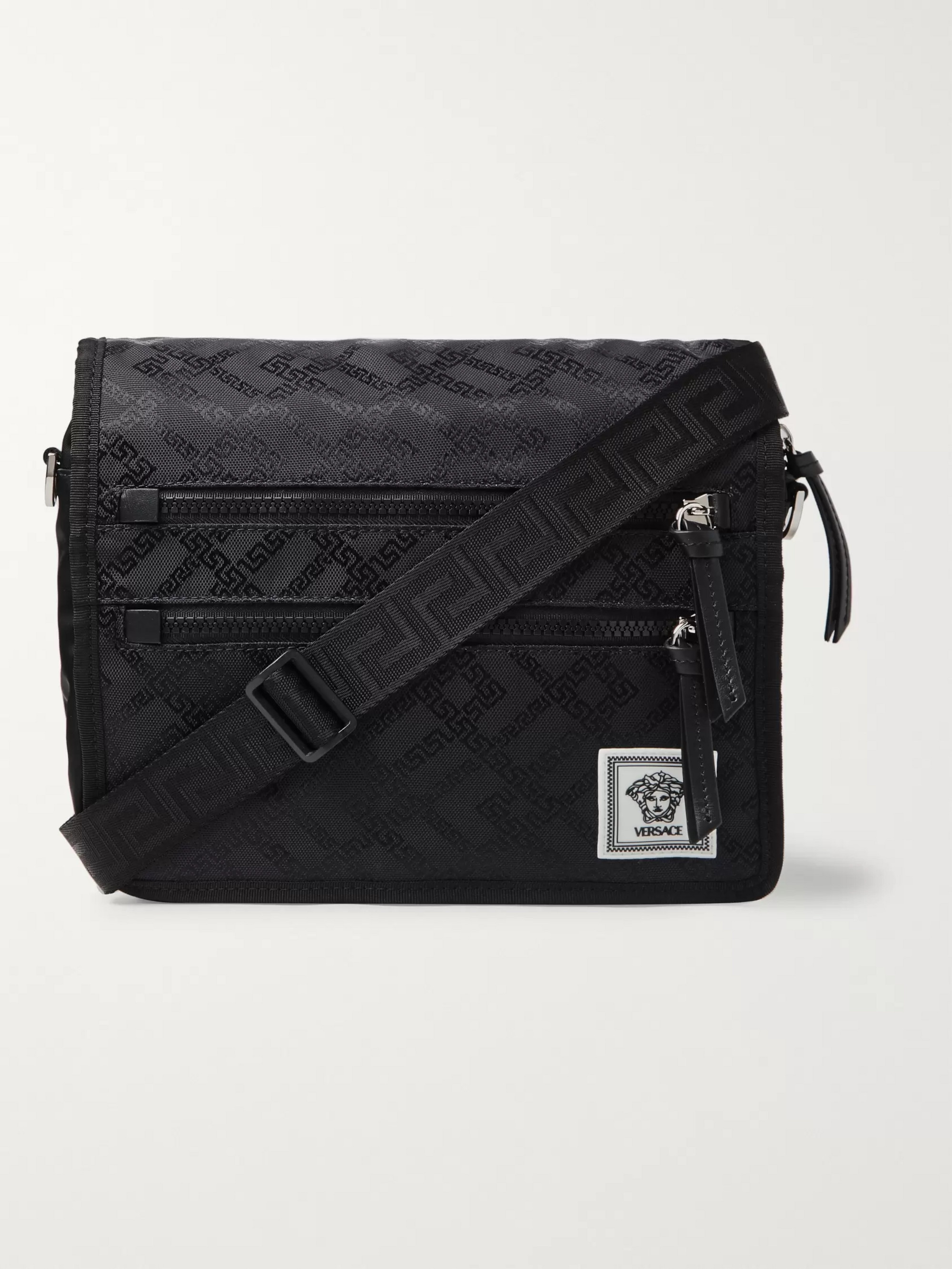 Versace Leather-Trimmed Printed Nylon Messenger Bag