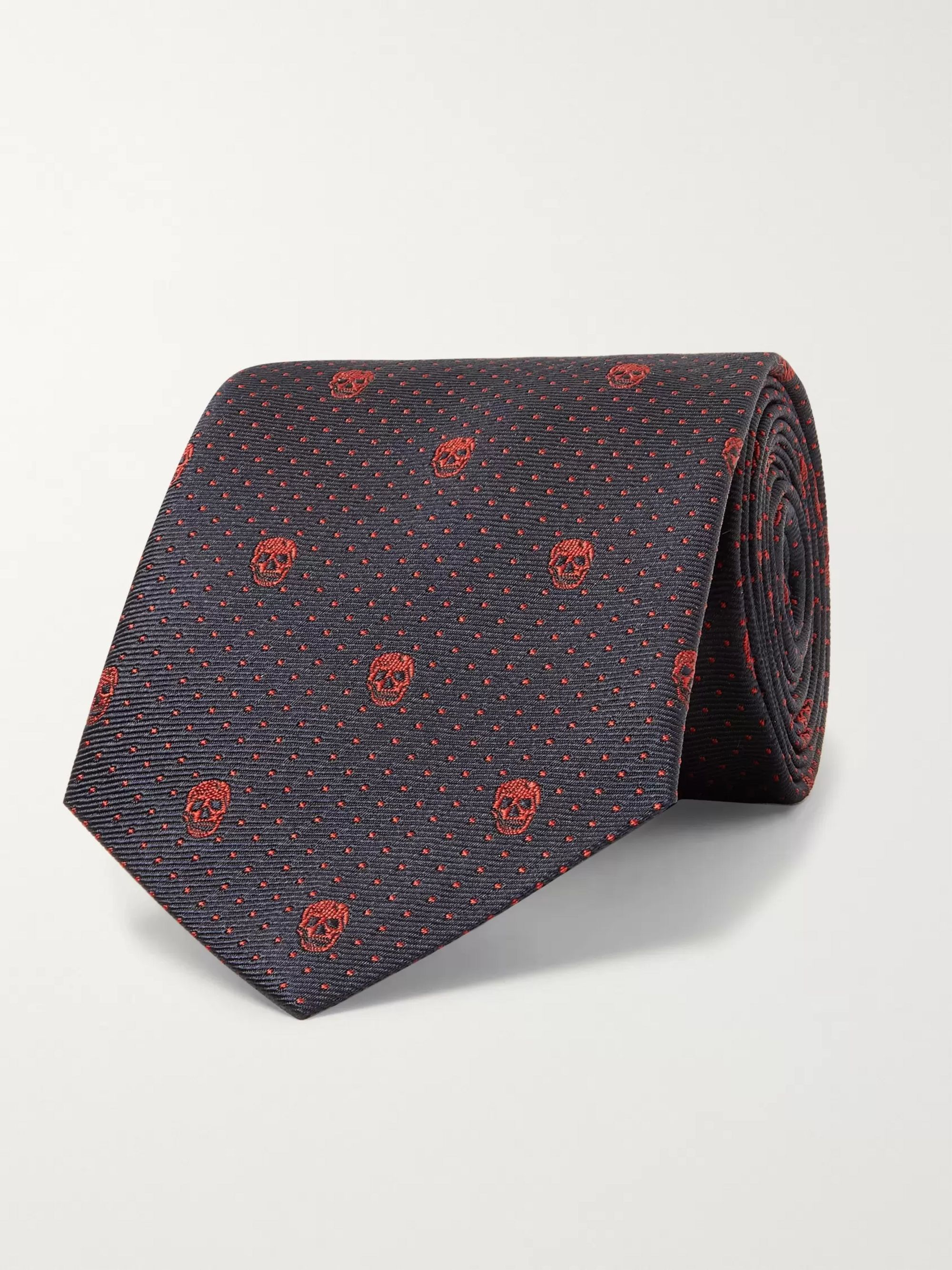 Alexander McQueen Skull and Polka-Dot Embroidered Silk Tie