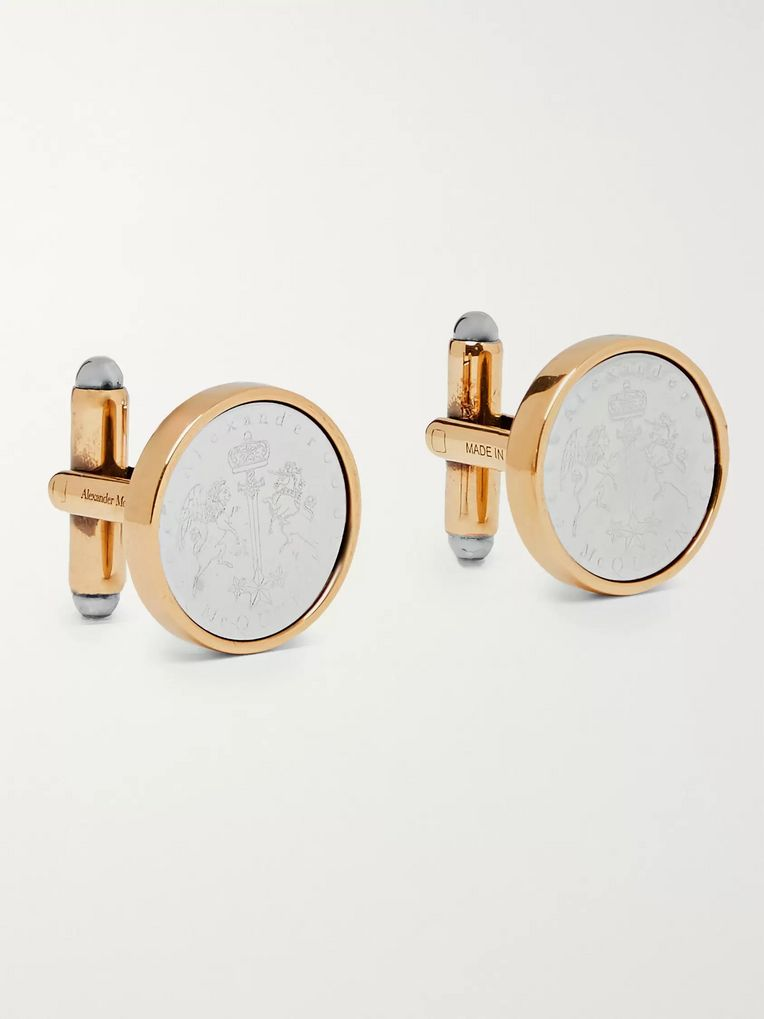 Alexander McQueen Logo-Engraved Silver and Gold-Tone Cufflinks