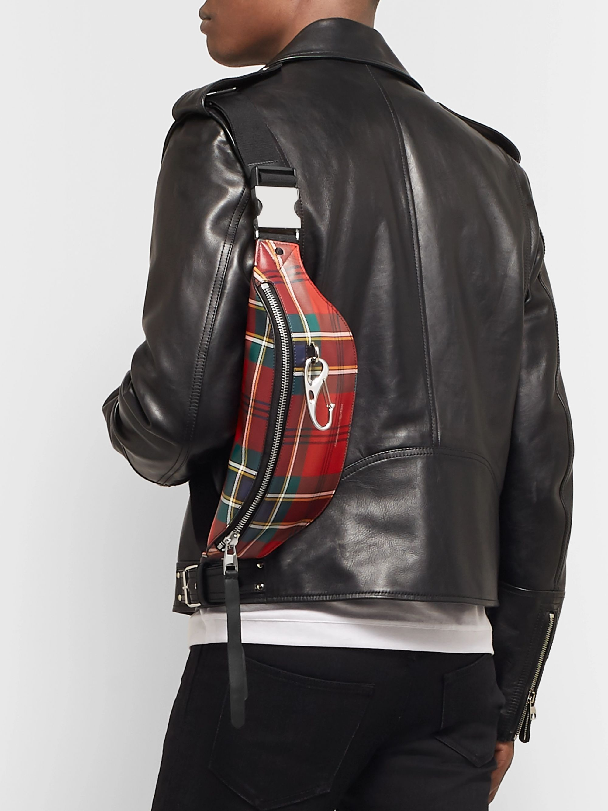 Alexander McQueen Checked Leather Belt Bag