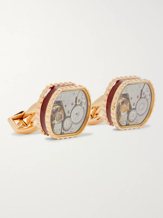 TATEOSSIAN Gear Rose Gold-Plated And Enamel Cufflinks