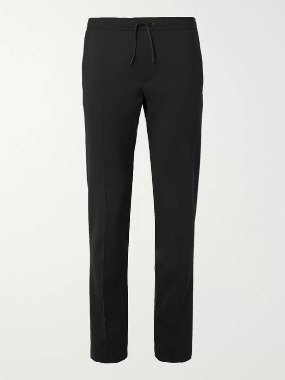 Sandro Black Slim-Fit Wool-Blend Drawstring Trousers