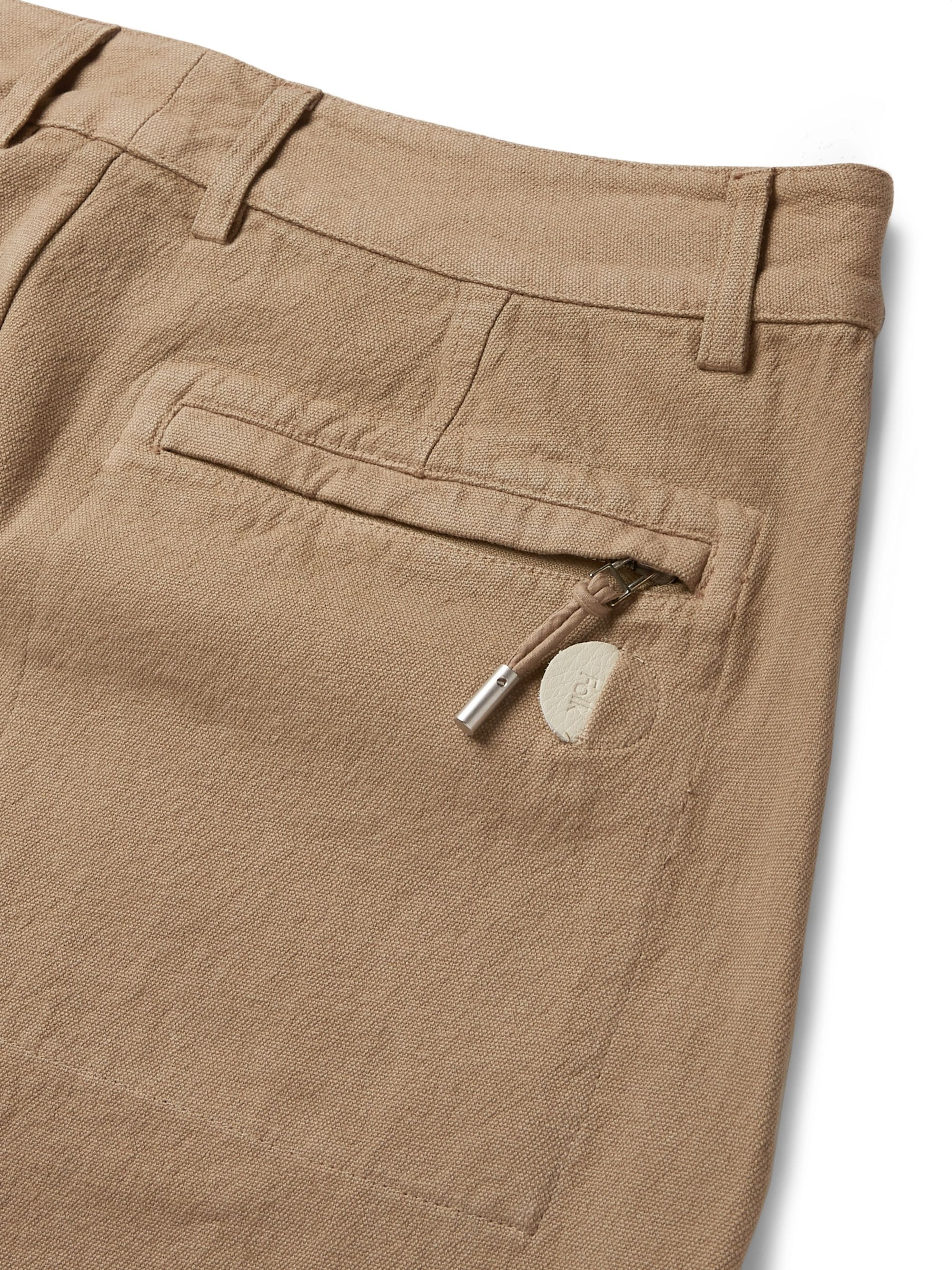Folk Signal Pleated Garment-Dyed Cotton Trousers