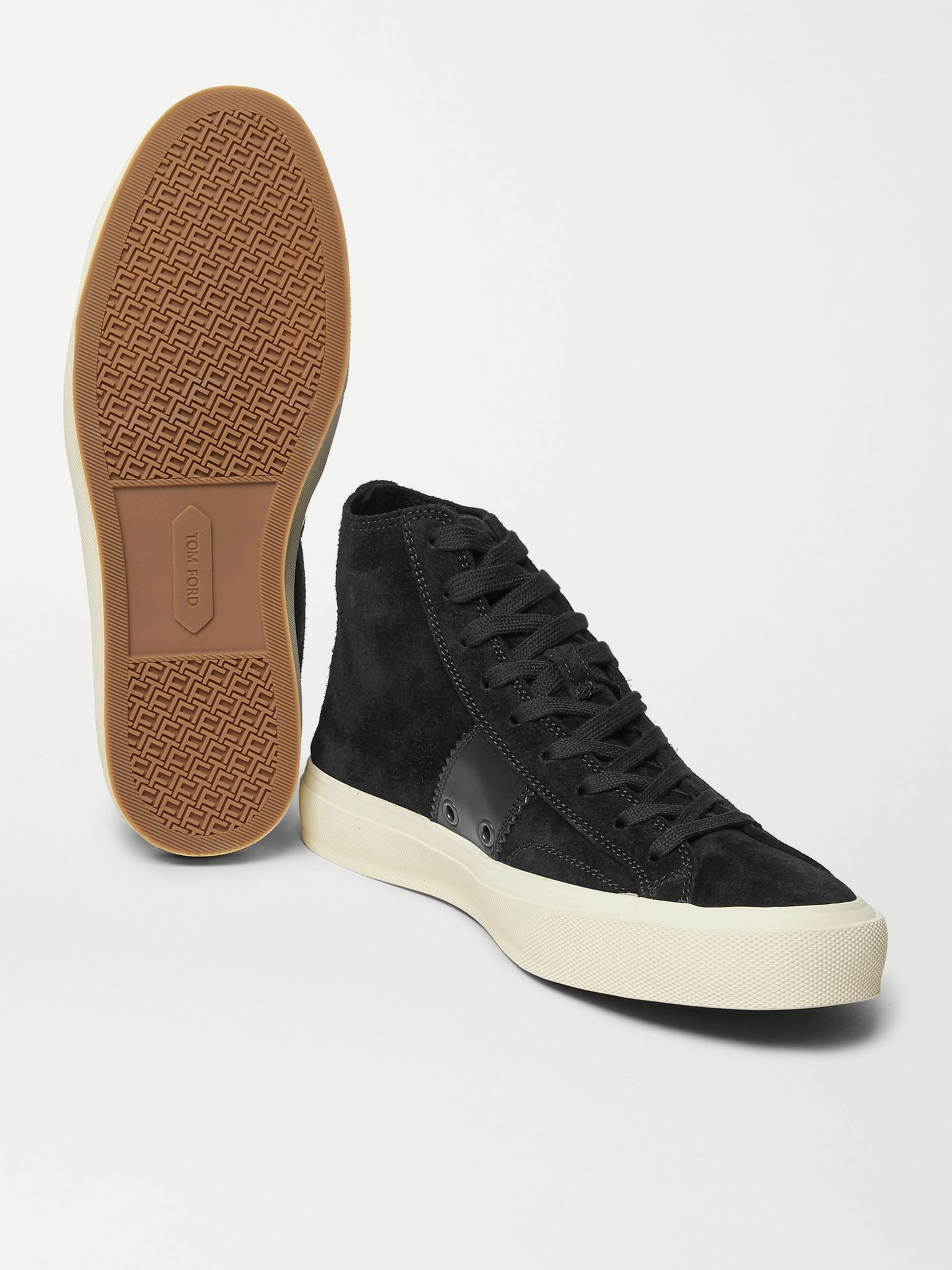 Black Cambridge Leather-trimmed Suede High-top Sneakers | Tom Ford