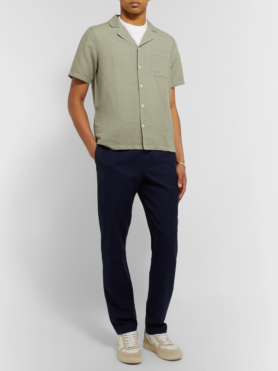 Folk Camp-Collar Linen and Cotton-Blend Shirt