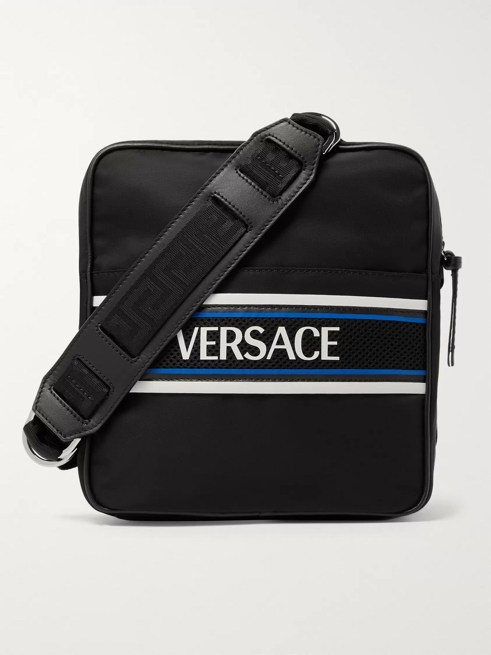 Versace Leather and Mesh-Trimmed Logo-Print Shell Messenger Bag
