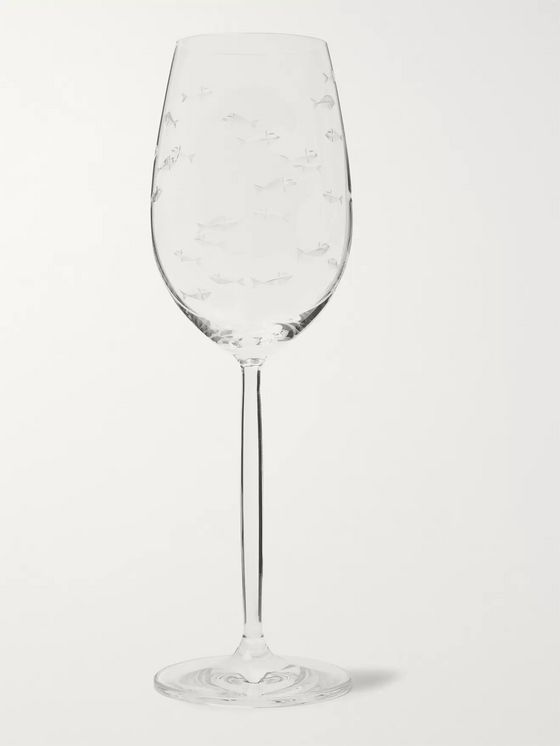 Linley Fish-Etched Crystal White Wine Glass