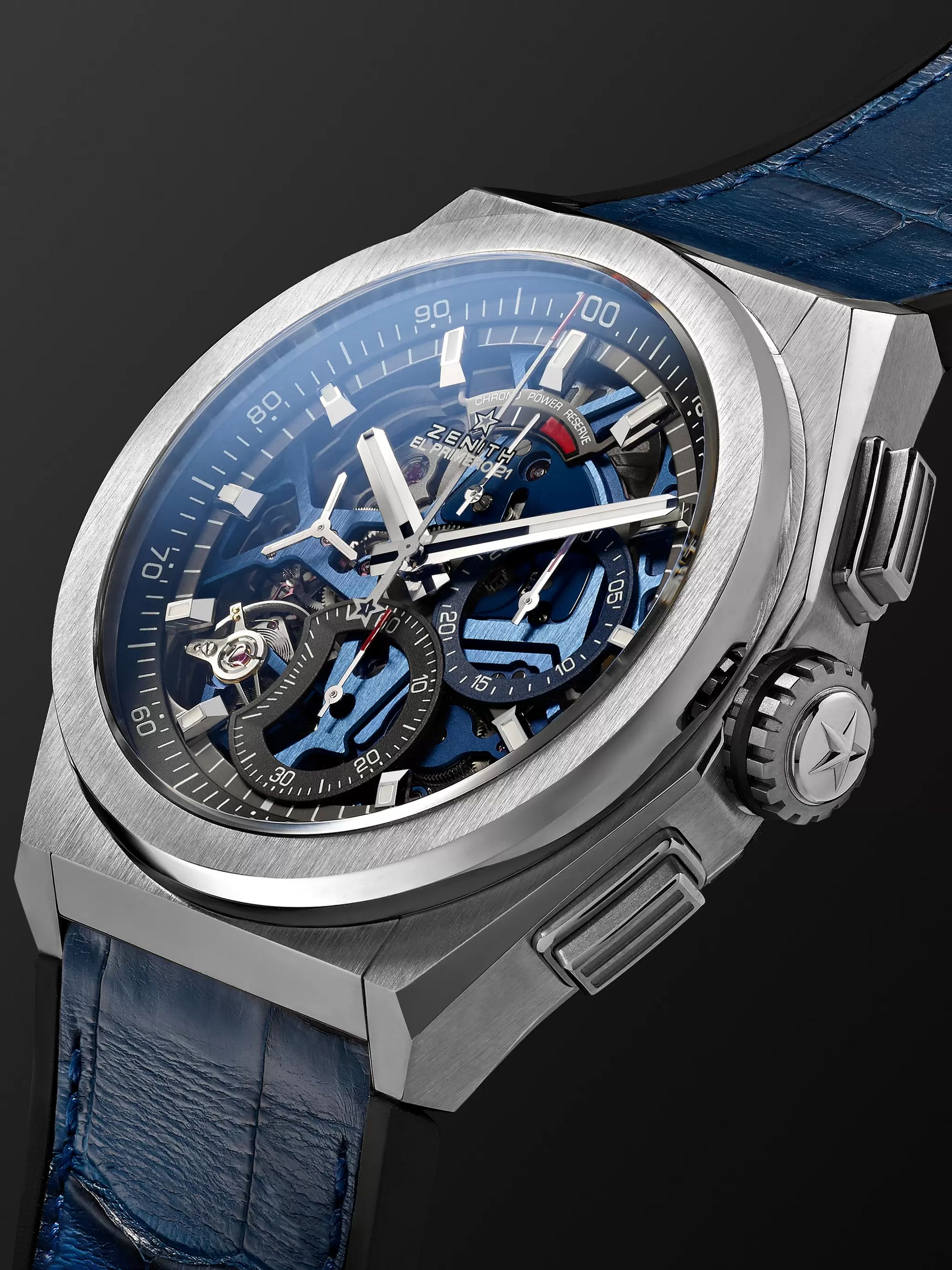 ZENITH DEFY El Primero 21 Chronograph 44mm Brushed-Titanium, Alligator and Rubber Watch, Ref. No. 95.9002.9004/78.R584
