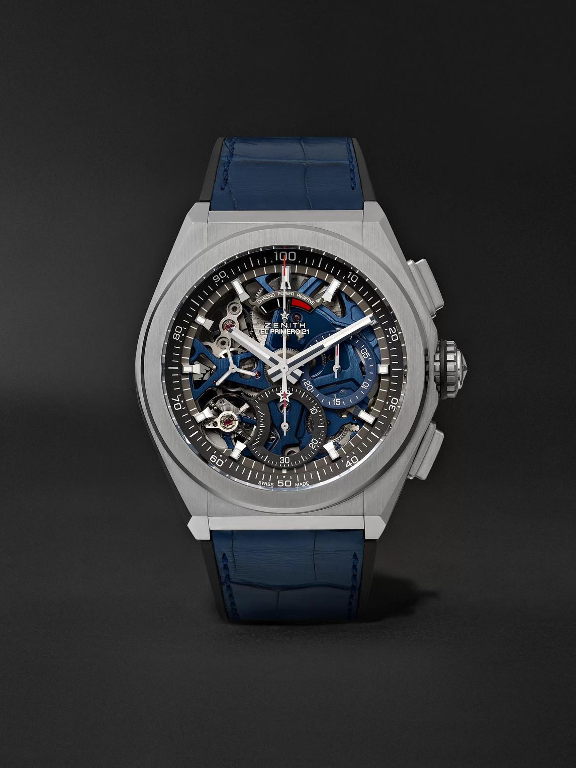 Zenith Defy El Primero 21 Chronograph 44mm Brushed-titanium, Alligator And Rubber Watch, Ref. No. 95.9002.9 In Blue