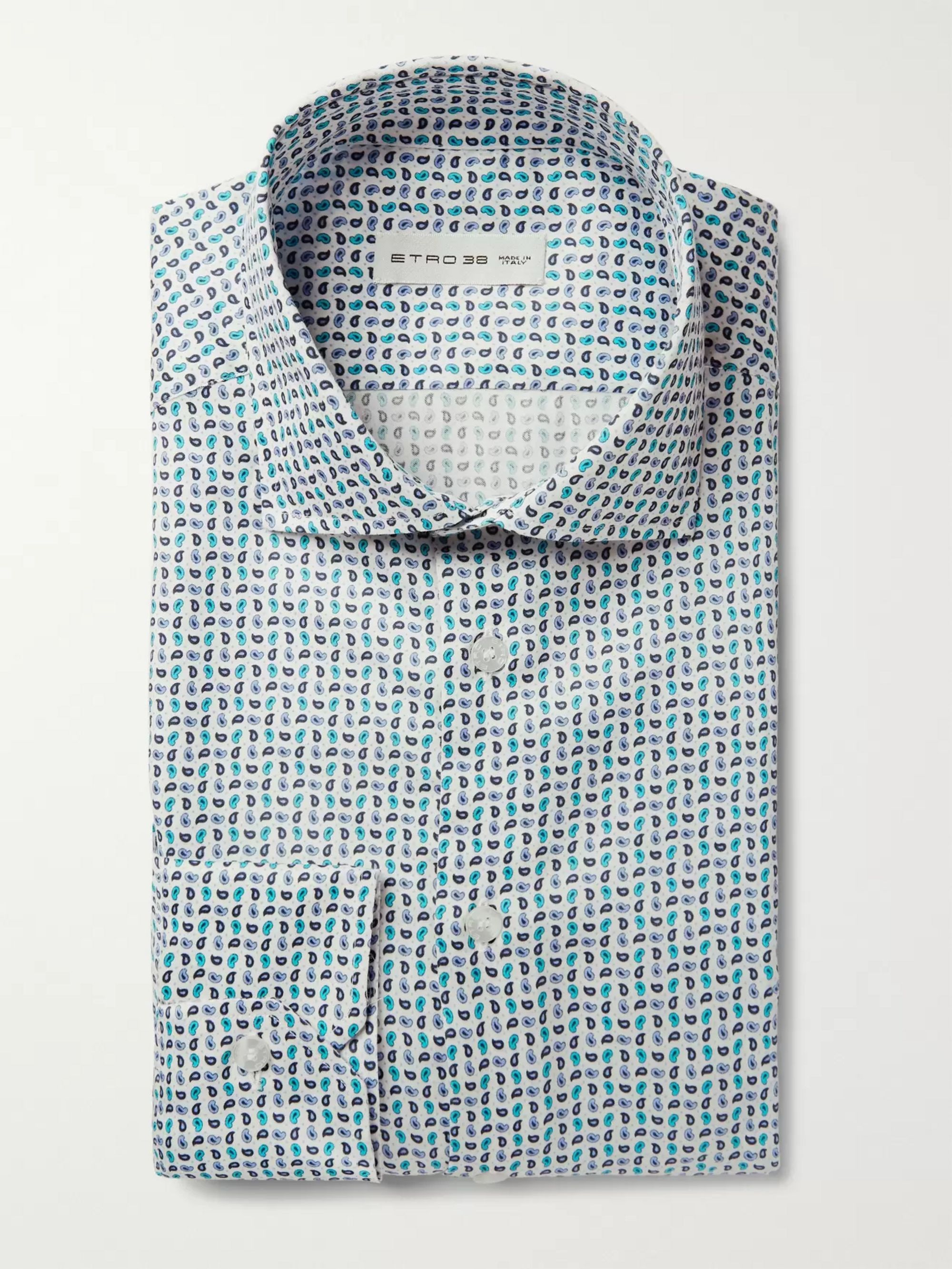 Etro Blue Slim-Fit Micro Paisley-Print Cotton-Blend Shirt