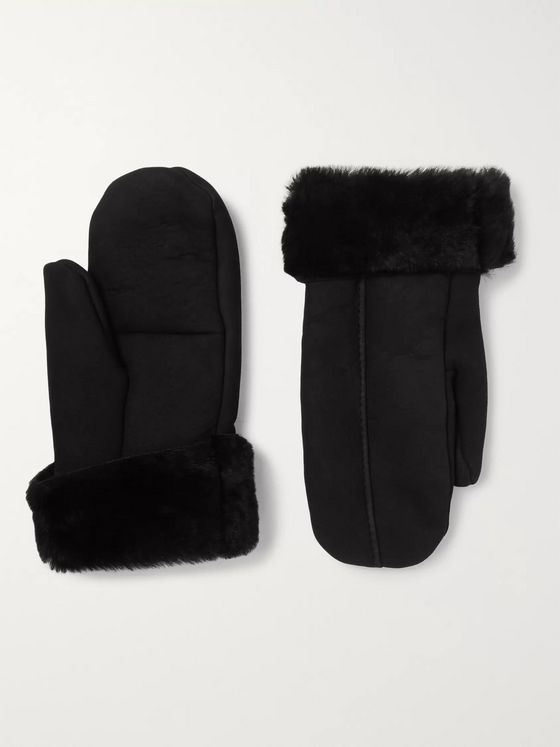 Dents Inverness Shearling-Lined Suede Mittens