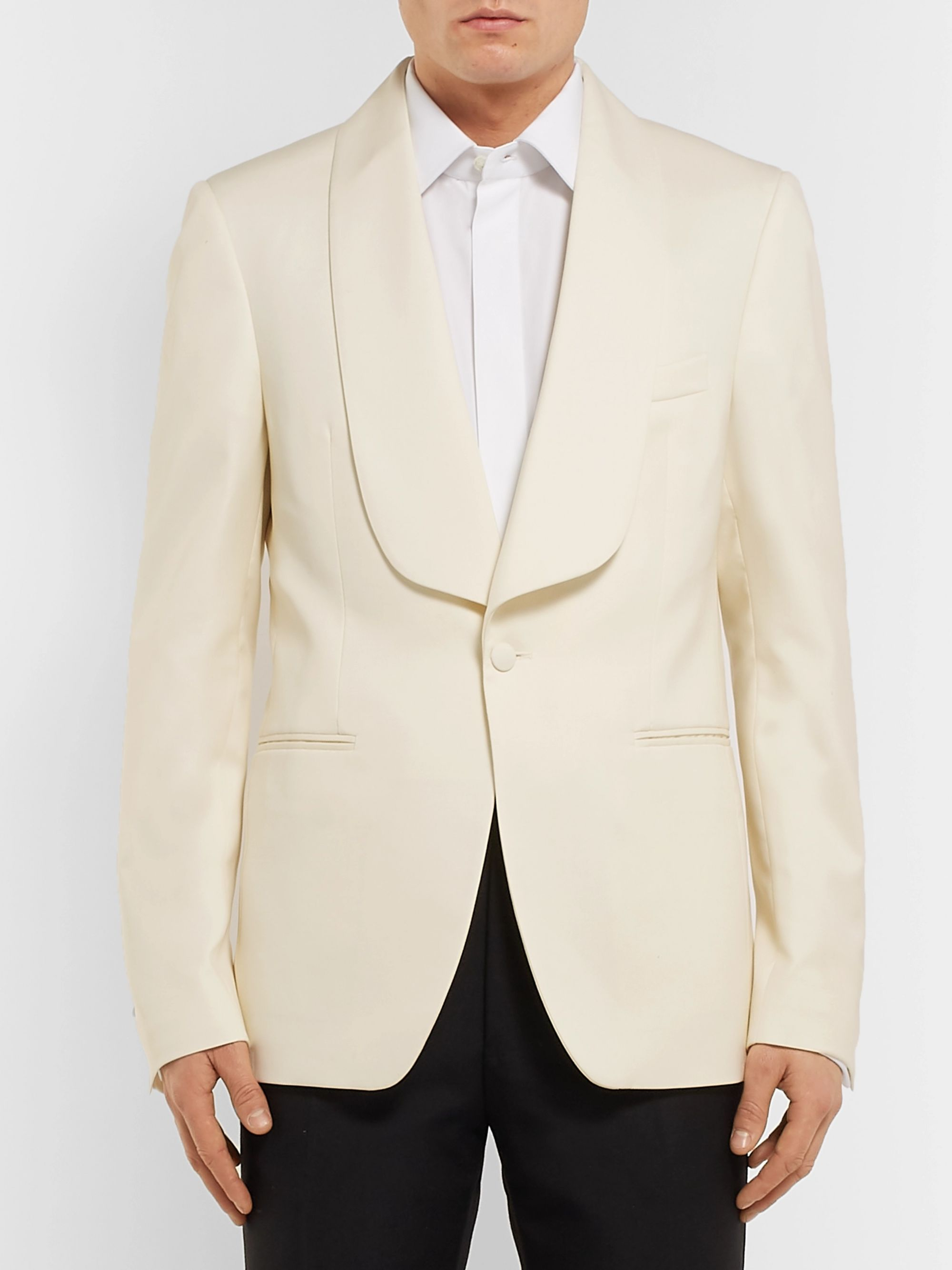 SALLE PRIVÉE White Bori Slim-Fit Wool Tuxedo Jacket