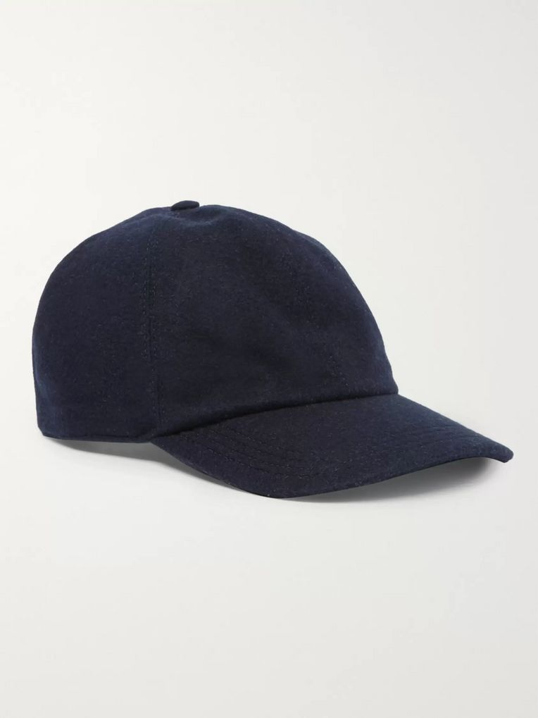 Brunello Cucinelli Leather-Trimmed Cashmere Baseball Cap
