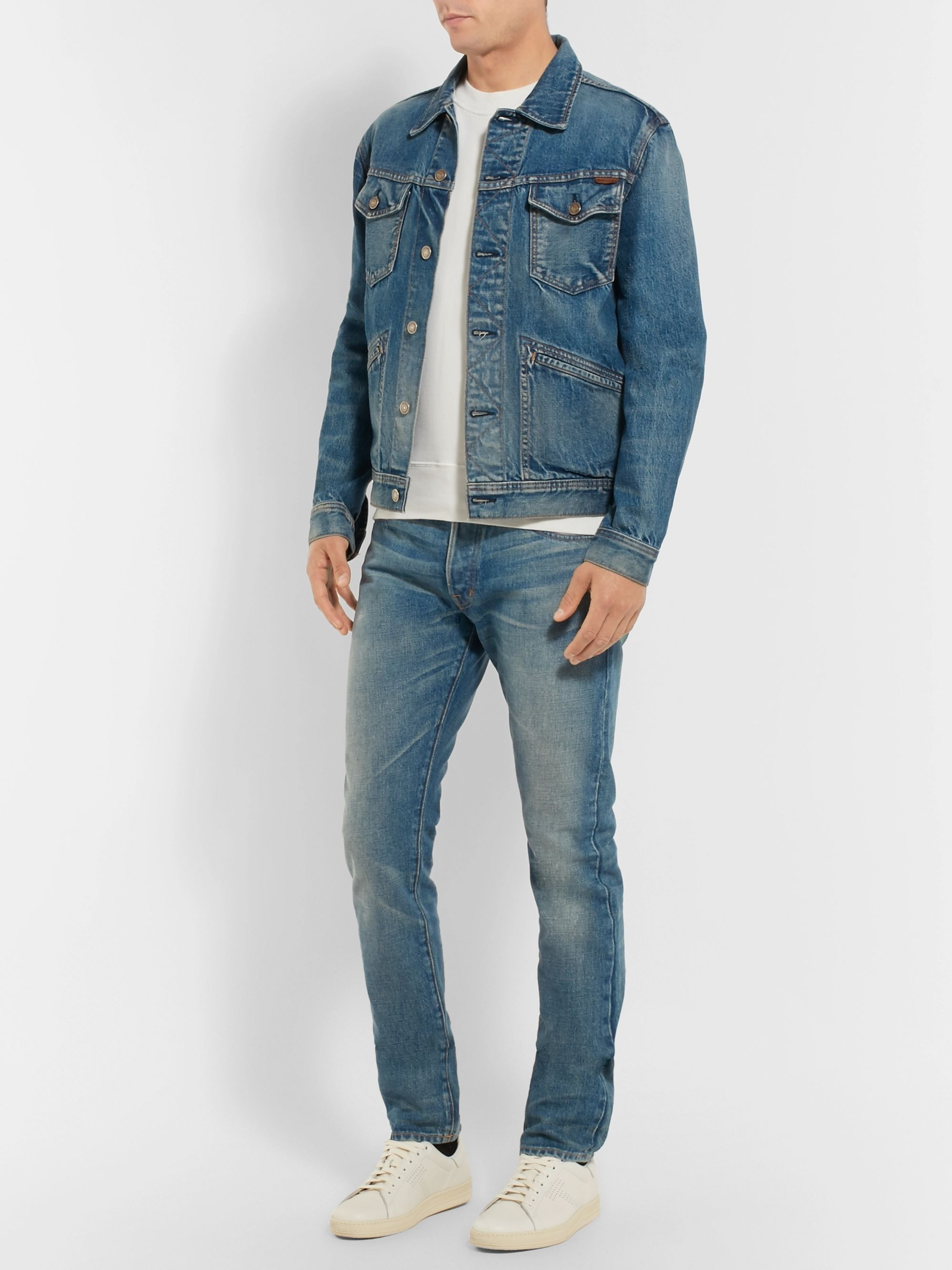 TOM FORD Slim-Fit Washed Selvedge Denim Jeans
