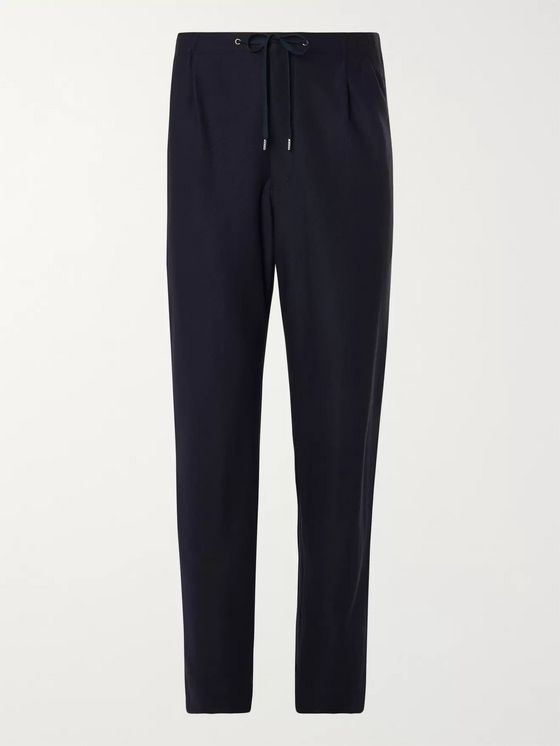 Camoshita Navy Twill Drawstring Suit Trousers