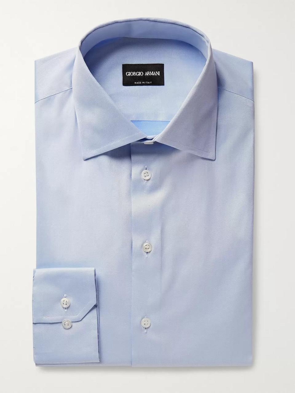 989c3819 Light blue Slim-Fit White Cotton-Poplin Shirt | Giorgio Armani | MR ...