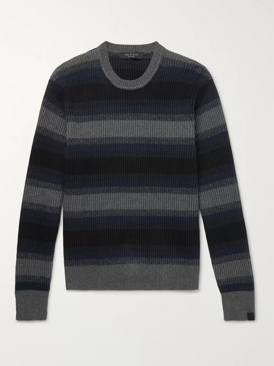 rag & bone Striped Ribbed Cotton and Cashmere-Blend Sweater