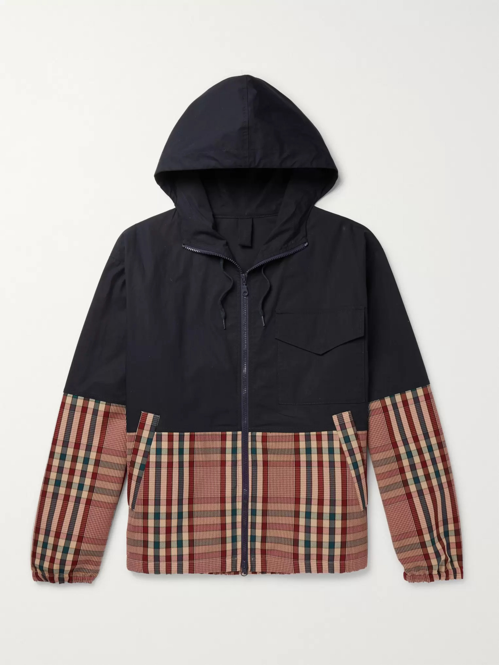 Barena Panelled Stretch-Cotton Shell and Checked Cotton-Blend Drill Jacket
