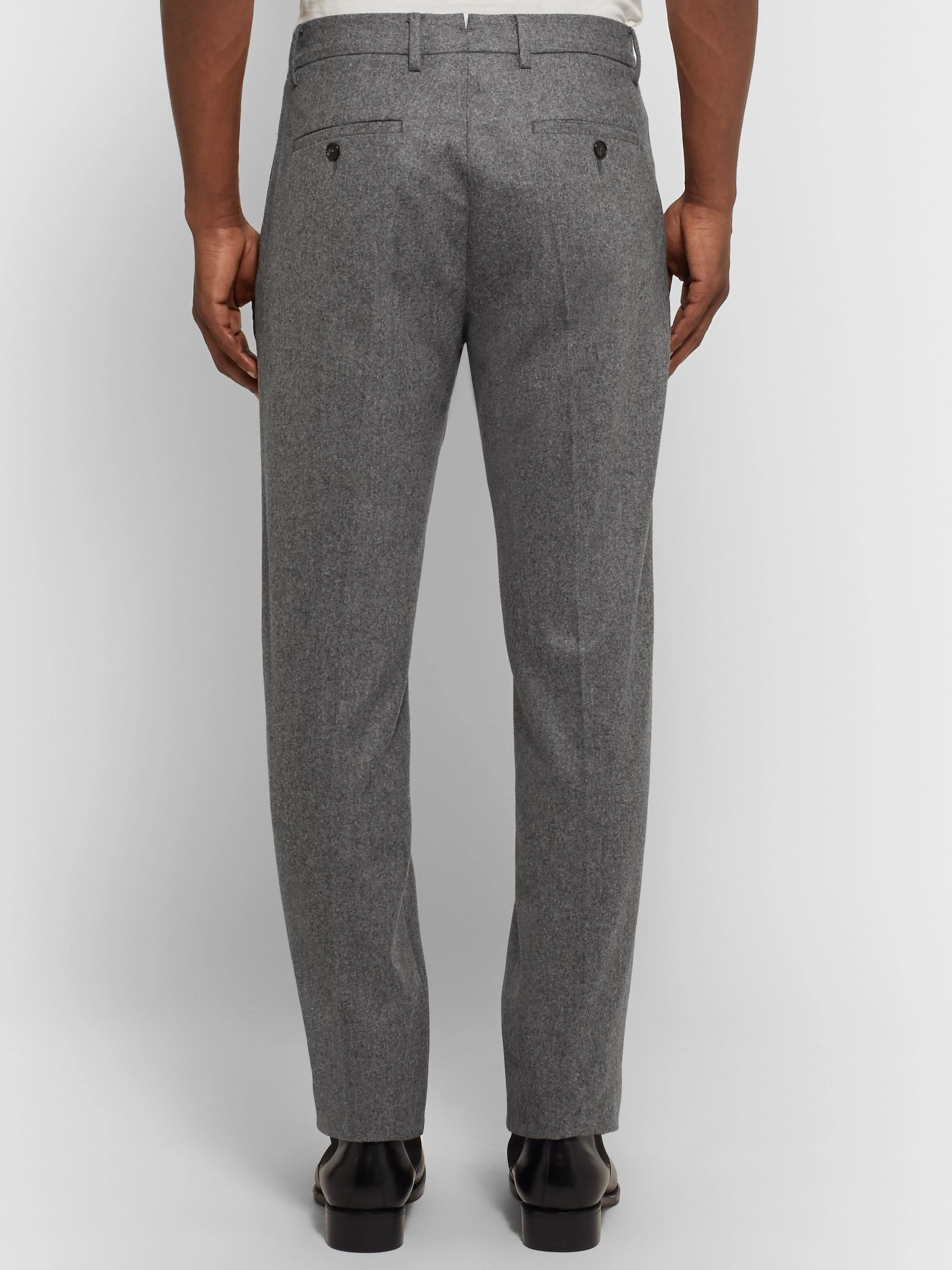 SALLE PRIVÉE Anthracite Rocco Slim-Fit Mélange Wool-Flannel Suit Trousers