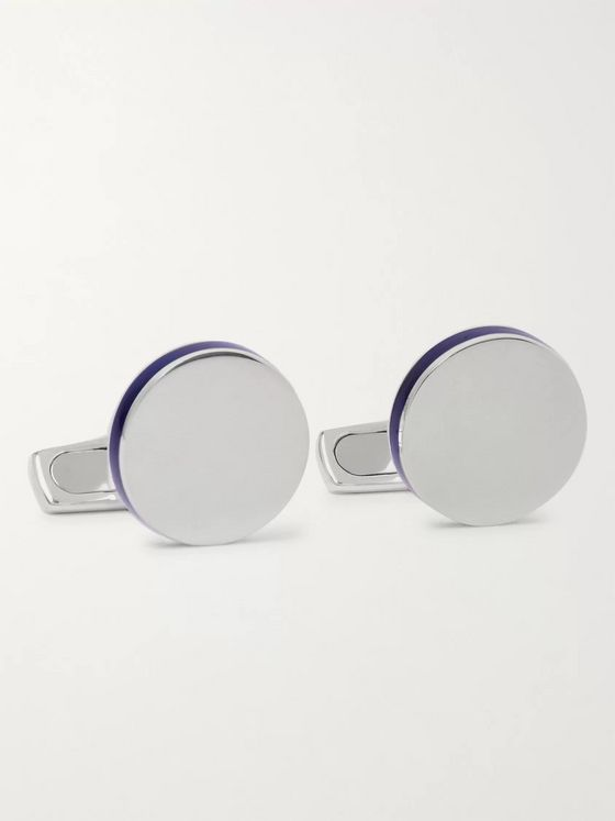 Asprey Enamelled Sterling Silver Cufflinks