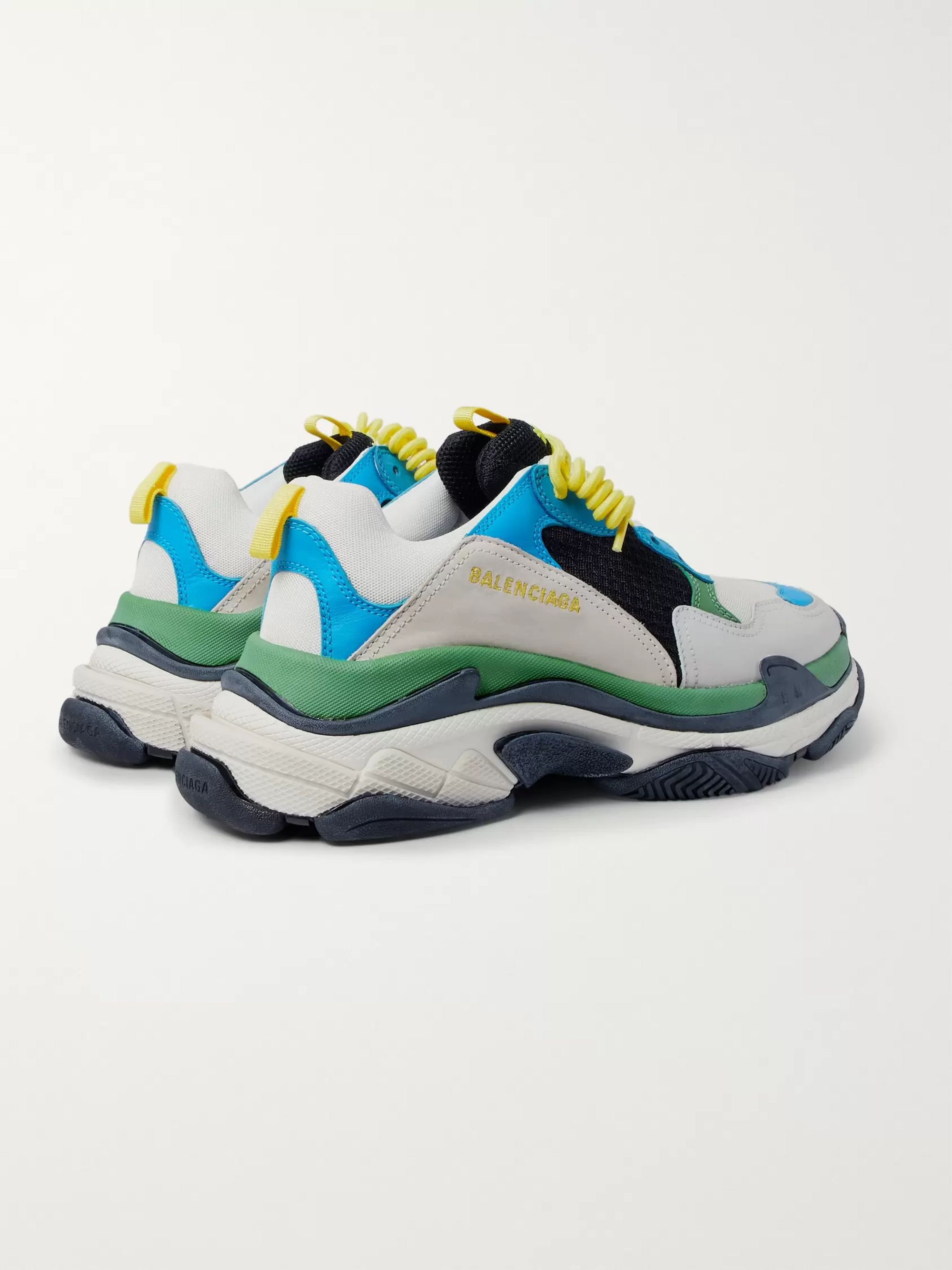 Balenciaga Triple S Mesh, Leather and Suede Sneakers