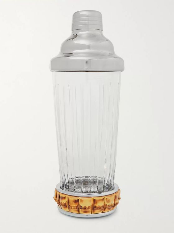 LORENZI MILANO Glass, Bamboo and Stainless Steel Cocktail Shaker