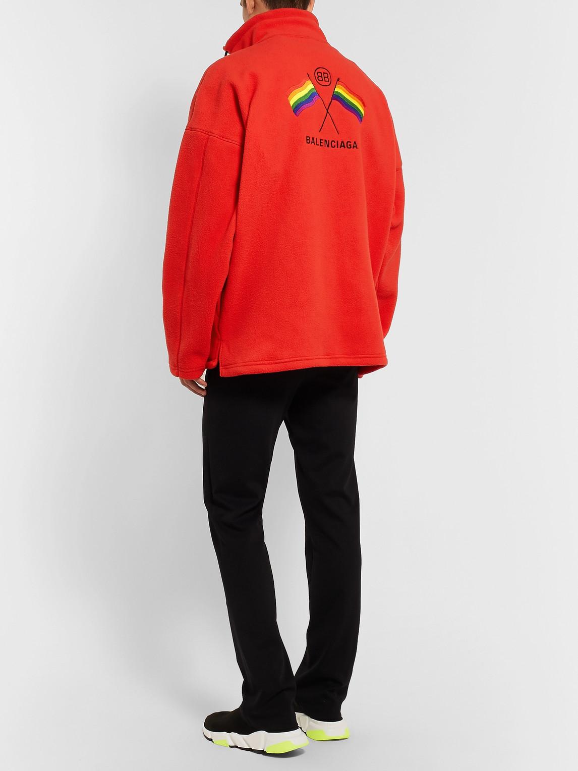 Balenciaga Jackets OVERSIZED EMBROIDERED FLEECE JACKET