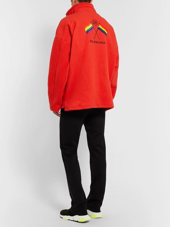 Balenciaga Oversized Logo-Embroidered Fleece Zip-Up Sweater