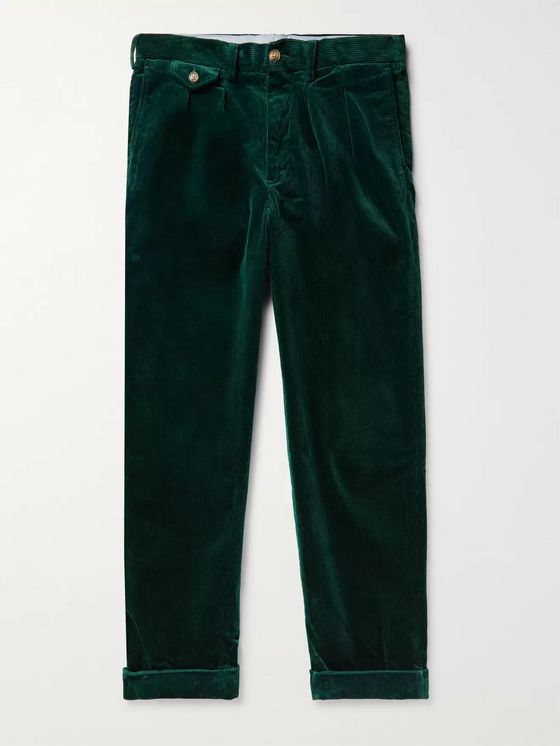 Polo Ralph Lauren Wide-Leg Pleated Stretch Cotton-Corduroy Trousers