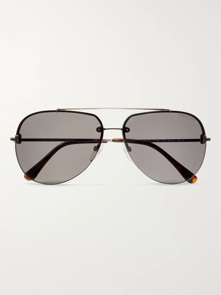 TOM FORD Brad Aviator-Style Silver-Tone Sunglasses