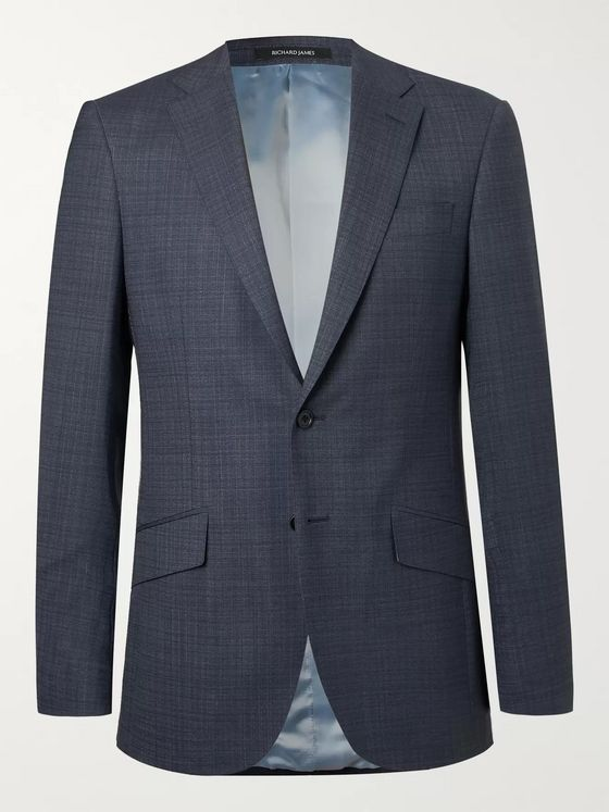 Richard James Indigio Seishen Slim-Fit Mélange Wool Suit Jacket