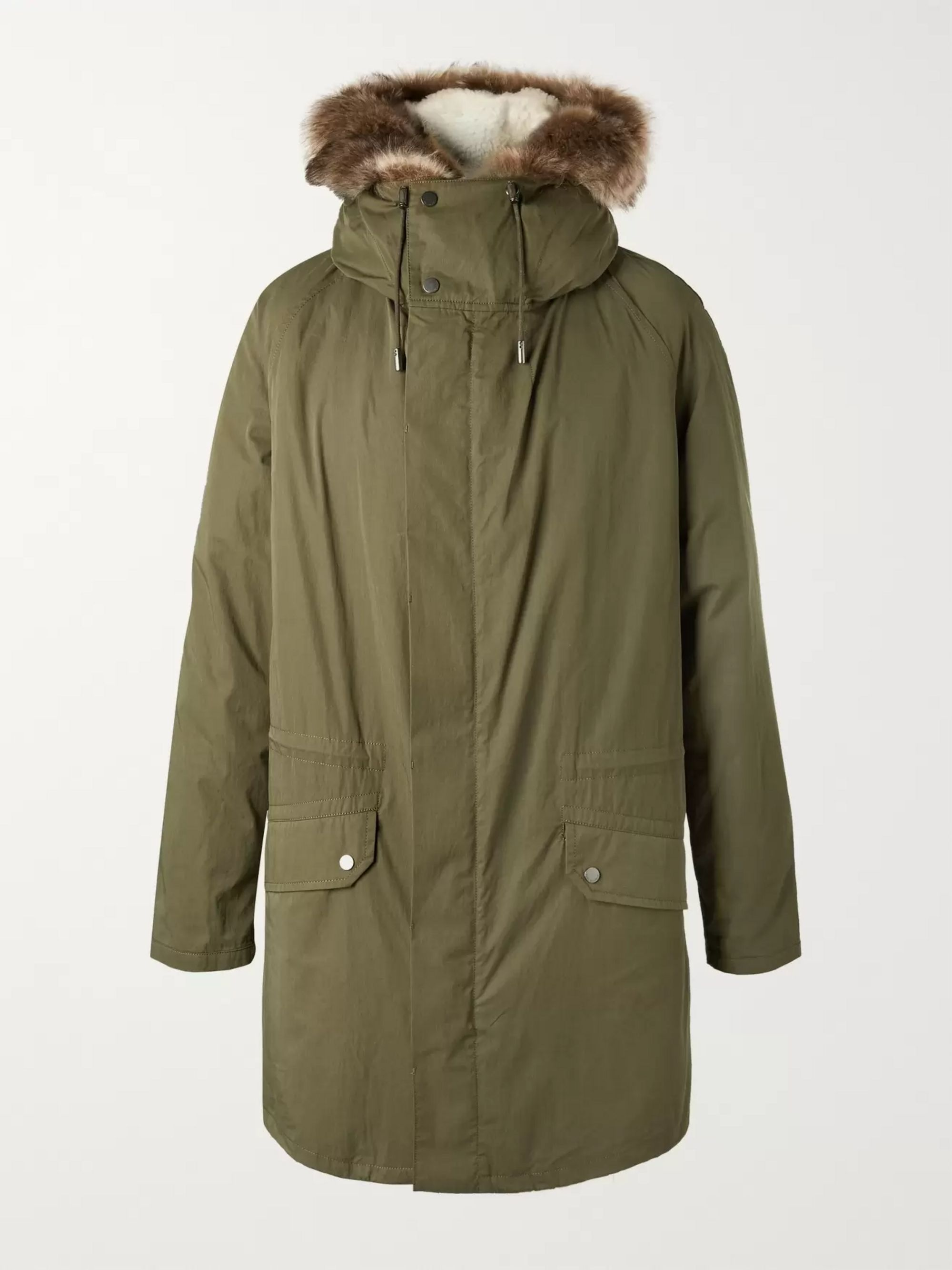 Yves Salomon Shearling-Lined Cotton Hooded Down Parka