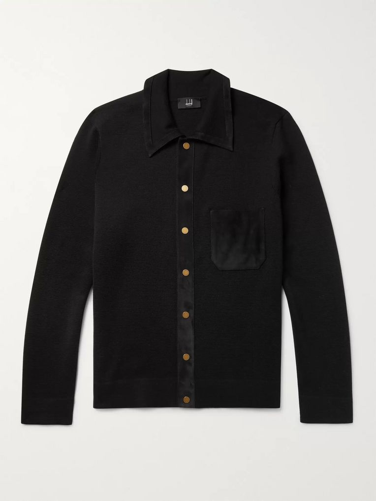 Dunhill Suede-Trimmed Merino Wool Cardigan