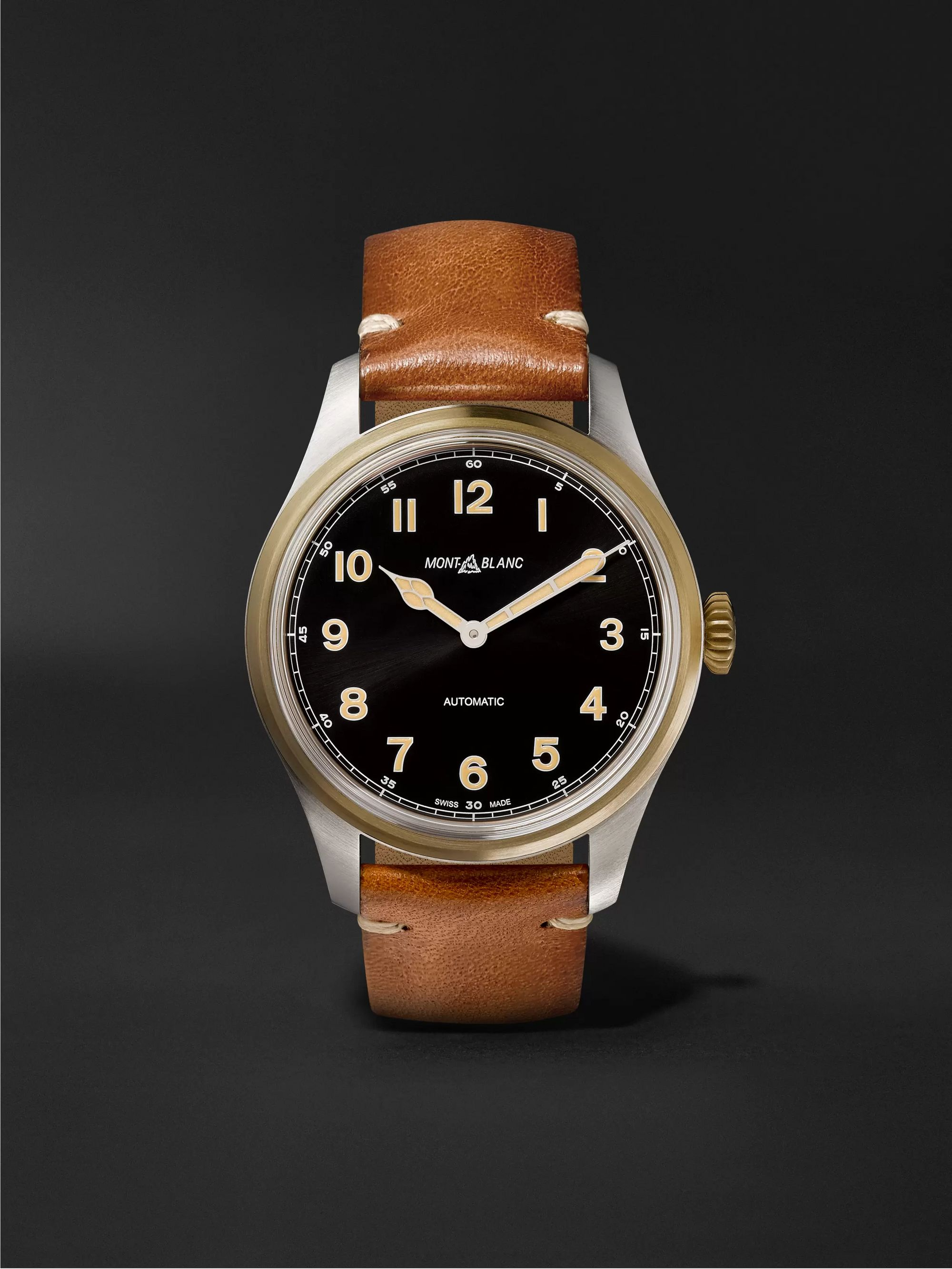 Montblanc 1858 Automatic 40mm Stainless Steel, Bronze and Leather Watch, Ref. No. 117833