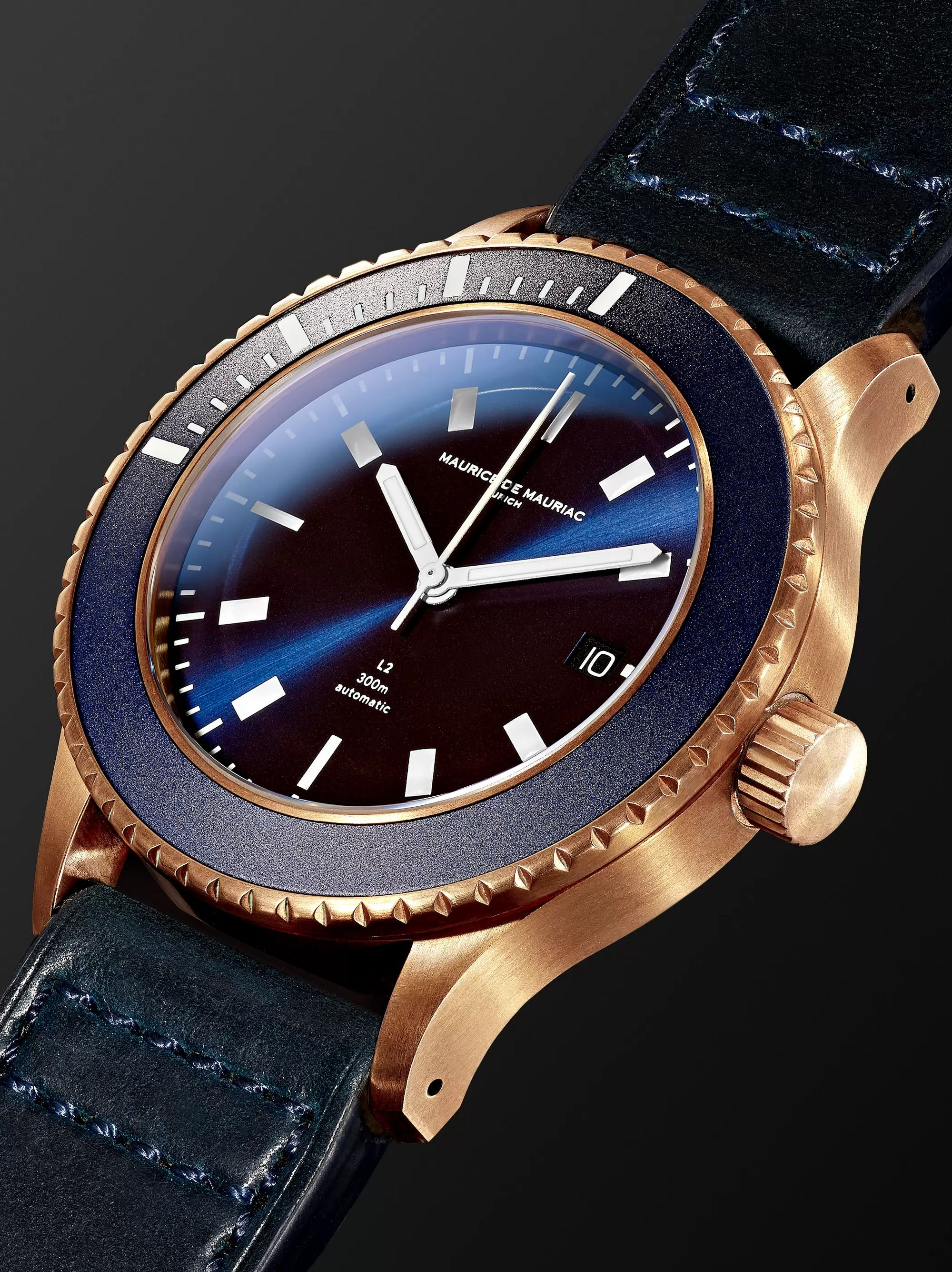 Maurice de Mauriac L2 42mm Bronze and Leather Watch, Ref. No. L2 BRONZE DEEP BLUE